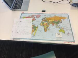 Map and participant notes at U.S.-Senegal live dialogue